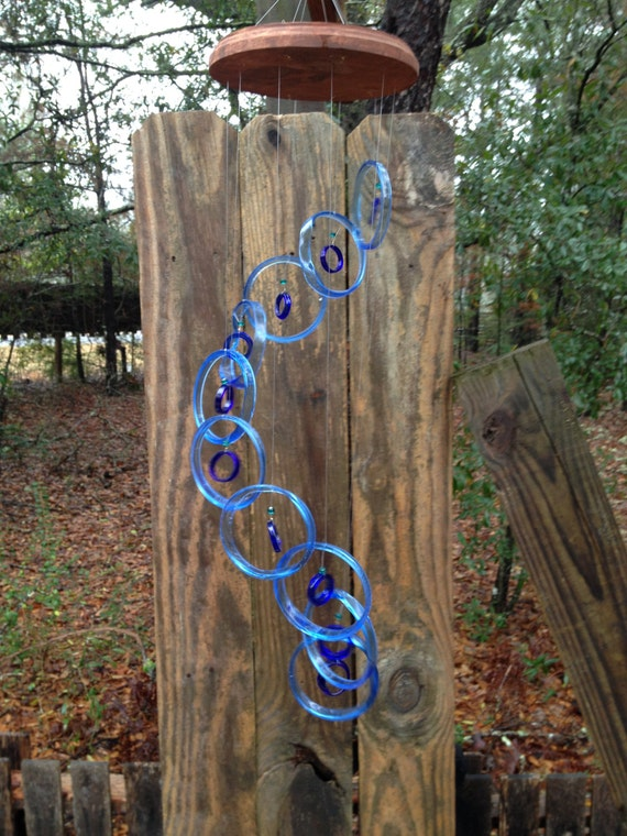 lt blue blue GLASS WINDCHIMES from RECYCLED bottles, eco friendly, garden decor, wind chimes, mobiles, musical, windchimes