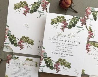 VINTAGE BUDS | Vintage, Rustic Wedding Invitations, Wedding Invites, Wedding Invite, Blush and Rose Wedding Invitation Rustic - Sample Set