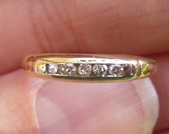 Classic Channel set  Diamonds stacker ring in 14KT yellow gold Classic White and yellow gold  Art Deco