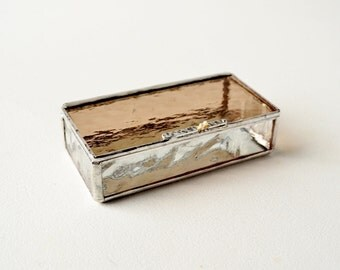 Light Bronze Glass Box, Glass Box, Glass Display Box, Glass Jewelry Box, Jewelry Box, Gift For Girlfriend, Bridesmaid Gift