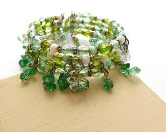 Retro Shades of Green Glass Gemstone Bead Fringe Wrap Cuff Bangle Bracelet D34