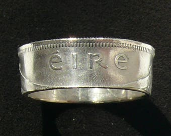 Silver Coin Ring 1939 Ireland 1 Scilling, Ring Size 7 and Double Sided