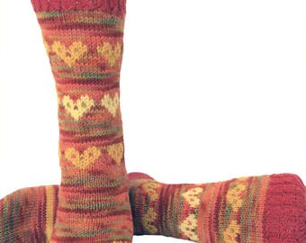 Socks, Hand Knit Unique Socks, Heart Socks, Heart Design, Boho Socks, Men Women Socks, Stylish Socks, Oranges, Hipster Socks, Unique