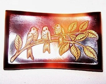 "Art Deco Celluloid Brooch Pin Signed France Brown & Gold Birds on Branch 1.5"" Vintage"