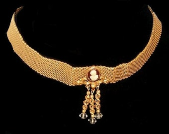 """Victorian Cameo Choker Necklace Gold Mesh Crystal Dangling Pendant 15.5"""" Vintage"""