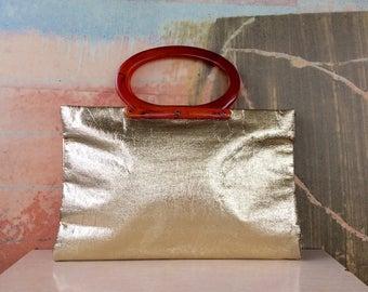 60s Mod Gold Metallic Clutch • Vintage Evening Purse • Foldable Clutch • Gold Cocktail Purse • Orange Handles • Gold Clutch • 60s Fashion