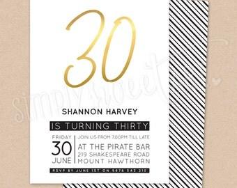 BY330 DIGITAL Thirtieth Birthday Party Invitation - modern minimalist BOLD 30 gold silver copper invite printable 18th 21st 30th 40th 50th