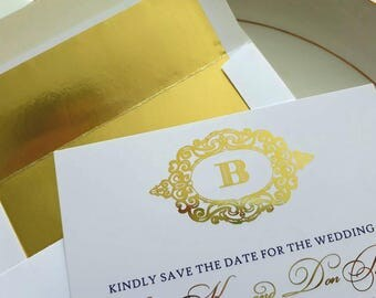 Gold Foil Save the Dates: Elegant Save the Date Cards.  Elegant Monogram Save the Date.  Navy and Gold.  Gold and Navy Wedding.