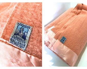 Vintage FULL Size 73 x 81 BLUSH Ballet Pink Coral Wool Camp Blanket by Kenwood Wool Products Made for JL Hudson Company