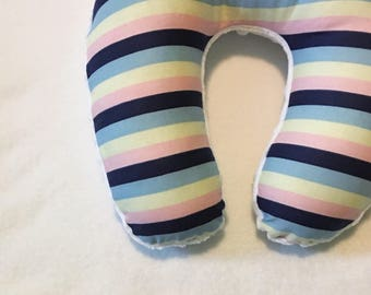Pink, Yellow, and Blue Stripe Travel Neck Pillow for Children and Adults