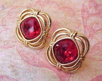 Very Pretty Crimson Jeweled Earrings by Swarovski