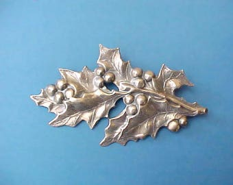 Pretty Vintage Stamped Metal Holly Branch Brooch in Pewter Color