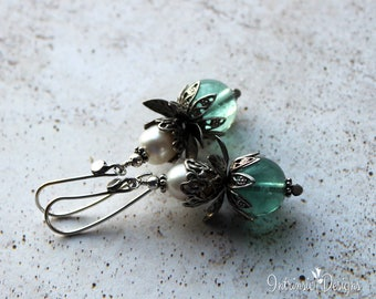 Filigree Fluorite and Pearl Lotus Earrings with Sterling Silver Ear Wires, Boho Earrings, Pearl Earrings, Teal Earrings, Silver Earrings