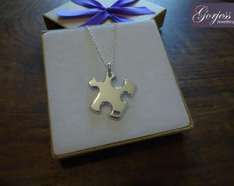 Thick Silver Puzzle Piece Pendant Necklace with Handcut Heart