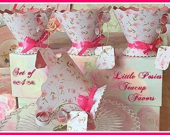 Paper Teacup Favors, Teaparty Wedding Bridal Baby Birthday Shower Party Supplies, Shabby Chic, Alice in Wonderland Party Decor, Mad Hatter