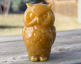 Vintage Retro Handcrafted Wise Honey Golden Owl Candle New Old Stock Made in USA