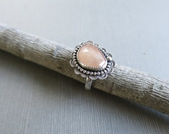 Pink Sapphire Ring, Stamped Ring, Textured Ring, Rosecut Sapphire Ring, Size 7, One of a kind