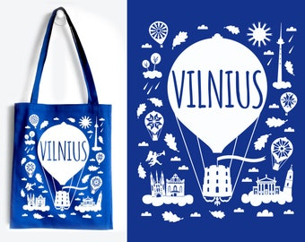 VILNIUS Blue Tote Bag