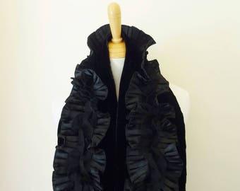 "BLACK VELVET STOLE with Double Ruffle Overlay - Satin Lined - 7"" (17.8 cm)  x  67"" (1 meter, 70 cm) - Formal Wear"