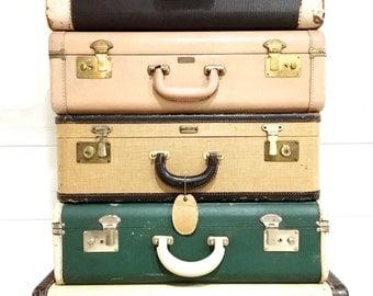 Vintage Suitcase Luggage Pink Leather Hardshell with Key