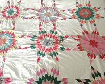 Vintage Quilt Top Star Pattern Cutter Quilt Full