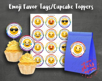 Emoji Party Circle Customized PRINTABLE Party Favor Hang Tags - Cupcake Toppers  | Appetizer Picks | DIY Party Printables