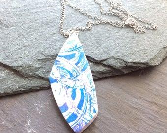 Batik look Pendant - Polymer clay necklace