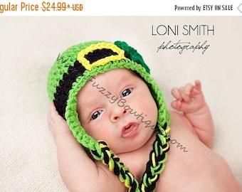 SALE 20% OFF Baby Leprechaun Earflaps Hat - Crochet Newborn Beanie Boy Girl Costume Winter  Photo Prop Cap Christmas Outfit