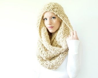 FLASH SALE The CHARLOTTE cowl - Chunky Cowl Scarf Shawl Hood - camel - large - limited quantities