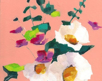 fine art floral painting of white flower bouquet acrylic on birch panel