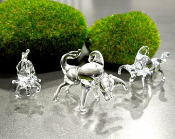SUPPLY: Handcrafted lamp-work Clear Glass Bull Pendant - Feather Tree Ornament - Light Catcher - SKU 00007868