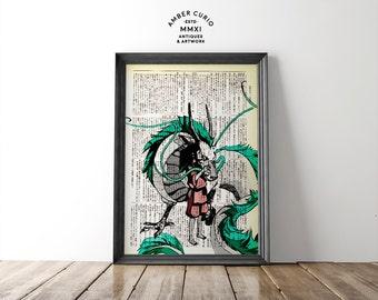 In Love Chihiro and Haku Spirited Away Studio Ghibli Tribute Print on an Unframed Upcycled Bookpage