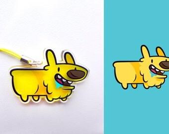 Acrylic Cute Corgi Dog Long Puppy Charm Keychain with Phone Strap