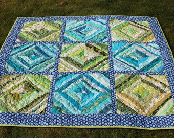Turquoise Lime Green Lap Size String Quilt