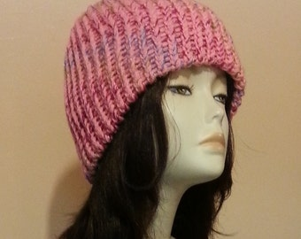 Chunky Loom Knitted Beanie Hat, Loom Knit Beanie Hat, Loom Knitted Hat, Loom Beanie Hat, Winter Hat. FREE UK DELIVERY