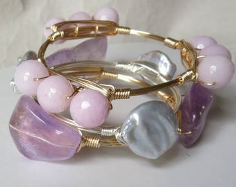 "Set of 3 Purple, Pink, Gray Stone Pearl Bangles ""Bourbon and Bowties"" Inspired"