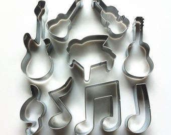 Music Cookie Cutter Set Instruments Biscuit Cutter/Musical Notes Cutter Mold/Metal Biscuit Cutters/Baking Supply/Theme Party