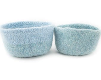 WOOLY FELTED BOWLS - two felted nesting bowls - two shades of light blue 23