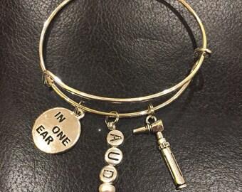 Audiology adjustable bracelet, great for a gift for audiologist or ENT Silver tone