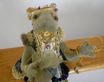 Vintage frog king stuffed animal. Jeweled toy frog.