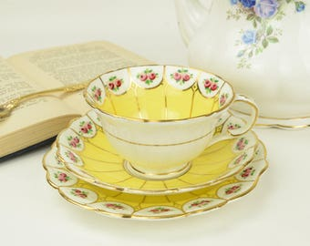Queen's Yellow Teacup and Saucer Trio With Red Roses, Tea Cup And Saucer & Bread and Butter Plate, Cabinet Collection,  ca. 1892-1928