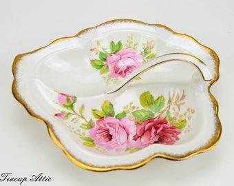 Royal Albert American Beauty Leaf Dish, English Bone China Dish, Replacement China, ca. 1941-1977