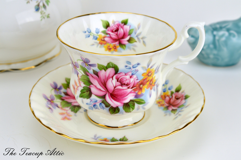 RESERVED Royal Albert Summertime Series Teacup And Saucer Set, English Bone China, Garden Tea Party, Wedding Gift, ca. 1978-1986