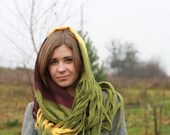 Infinity scarf - Cobweb felted Circle wool scarf - necklace / yellow olive green aubergine - Christmas gift