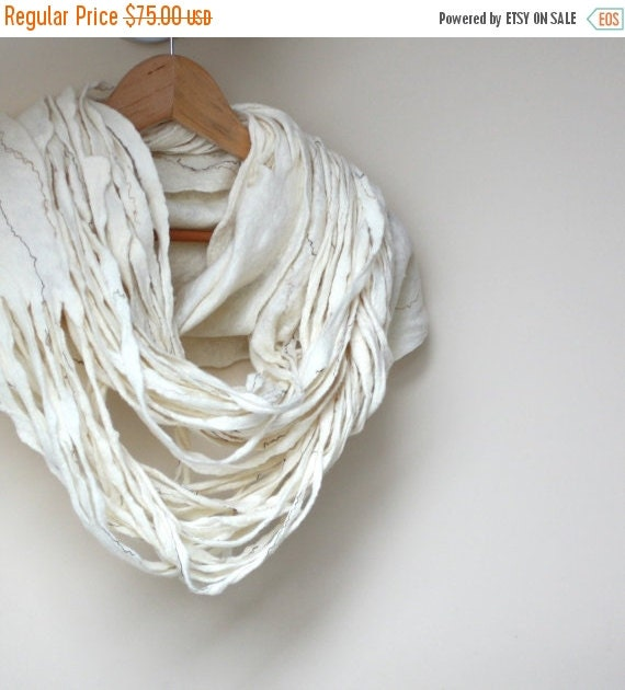 Women infinity white scarf - Christmas gift - felted wool circle scarf - cobweb - made to order