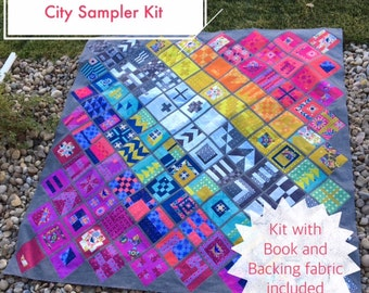 City Sampler KIT featuring Alison Glass fabrics (Includes Backing) - Pattern by Tula Pink and fabrics by Alison Glass (AGTP-CSKITBACK)