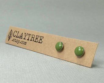 OLIVE Green Stud Earrings - Moss Green - Hypoallergenic - Surgical Steel Studs - Tiny Post Earrings - 4mm 5mm 6mm Circle - Polymer Clay