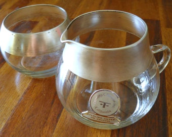 "15% OFF--1960's AUTHENTIC Dorothy C. Thorpe ""Mad Men"" Silver Band Creamer & Sugar--Original Sticker--Great Condition"