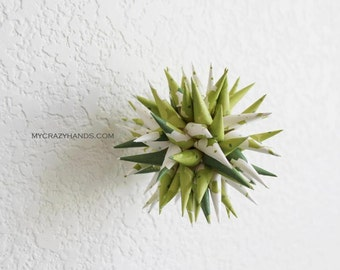 polish star || 4'' paper urchin | holiday ornament || Christmas tree decor || gifts for her || origami kusudama -snow garden