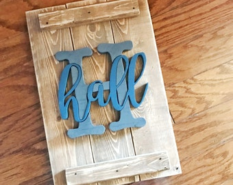 Wood Monogram Name Sign